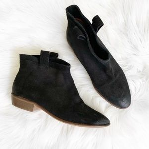 Zara Faux Suede Leather Black Ankle Bootie